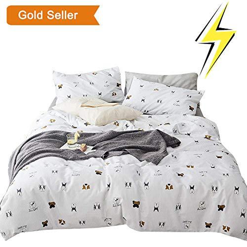 (OTOB Teen Cotton Puppy Dogs Bedding Sets Queen with 1 Duvet Cover 2 Pillowcases, Reversible Kids Full Bed Duvet Cover Set for Girls Children Boys White Black Soft Full/Queen)
