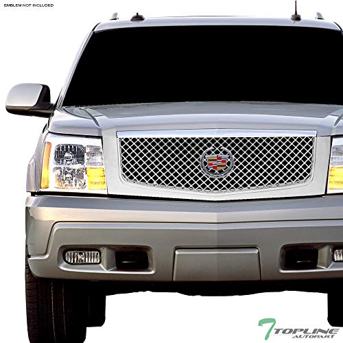 Topline Autopart Chrome Mesh Front Hood Bumper Grill Grille ABS For 02-06 Cadillac Escalade (Escalade Cadillac Replacement Radiator)