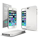 iPhone 5S Case, [White] Slim & Flexible TPU Case Cover Skin with Shimmer for Apple iPhone 5 & 5S & **Free Screen Protector**