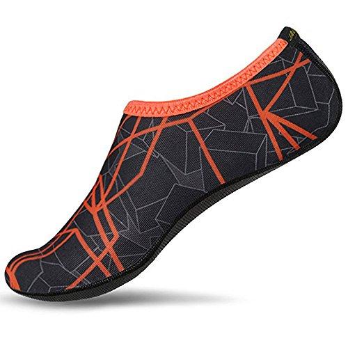 JACKSHIBO Männer Frauen und Kinder Quick-Dry Wasser Haut Schuhe Aqua Socken Für Wassersport Schwimmen Surf Yoga Exercise Beach Orange B