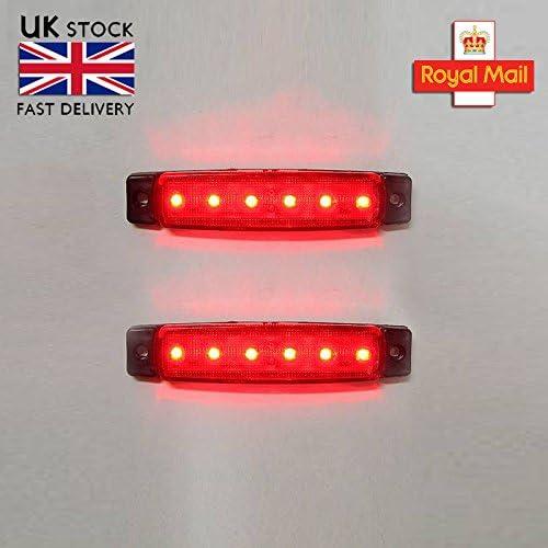 2 x 12v Led Red Side Bezel Marker Position Light Indicator Turn Signal Lamp Truck Trailer Lorry Caravan Transporter SUV Bus Car Van