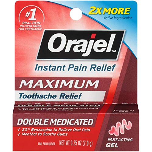 - Orajel Maximum Strength Toothache Pain Relief Double Medicated Gel, 0.25 Oz (Pack of 6)