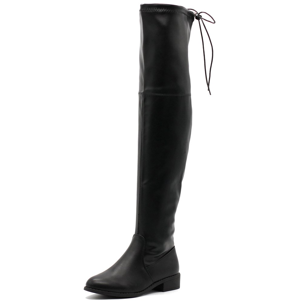 Ollio Women Shoe Adjustable Drawstring Stretch Faux Leather Over The Knee Zip up Long Boots TWB21(10 B(M) US, Black)