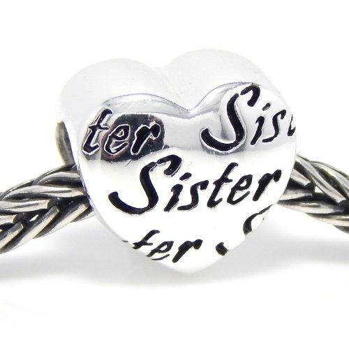 "Pro Jewelry .925 Sterling Silver ""Sister Heart"" Charm Bead for Snake Chain Charm Bracelet EBD JB 5672"