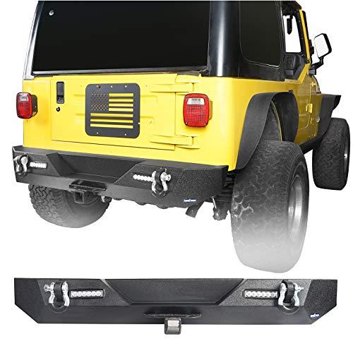Hooke Road Heavy Duty Steel Rear Bumper w/2 Receiver Hitches & 2X 18W LED Lights & D-Rings for 1987-2006 Jeep Wrangler TJ YJ & Unlimited
