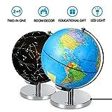 2-in-1 Desktop Illuminated Globe World Map Lamp Table Desk Lamp LED Night Light for Kids Teachers Educational Interactive Astronomy Geographic Map Energy-Saving LED Earth Lighting Ø25cm/9.84inch