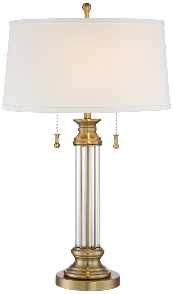 """Rolland Traditional Table Lamp Crystal Brass Column Off White Tapered Drum Shade for Living Room Family Bedroom - Vienna Full Spectrum - 30"""" high overall. Base is 7"""" wide. Shade is 16"""" across the top x 18"""" across the bottom x 9 3/4"""" high. Weighs 11.6 lbs. Uses two maximum 60 watt standard-medium base bulbs (not included). Twin on-off pull switches. Traditional two-light table lamp from Vienna Full Spectrum. - lamps, bedroom-decor, bedroom - 51 r%2BVsMXyL -"""