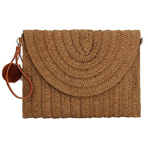 - Womens Straw Clutch Summer Evening Handbag Beach Purse Woven Straw Bag Envelope Clutch (Brown)