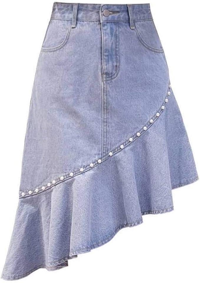 GYYWAN Jeans Falda Mujer con Perlas Llegadas De Verano Estilo ...