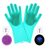 Maxtry 113006 2 Pack Magic Silicone Scrubber, Reusable Brush Heat Resistant Gloves Kitchen Tool for Cleaning, Dish, Washing The Car, Pet Ha, one size P1