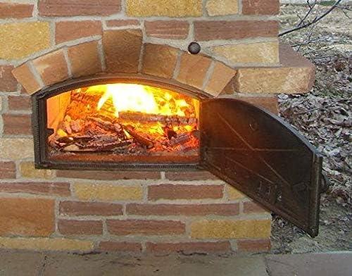 Home&Wood Portes pour Un Four à Pizza en Fonte poêle à Bois Porte du Four en Fonte Pierre 490x280 avec thermomètre/Gauche/
