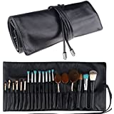 Samtour Makeup Brush Rolling Case Pouch Holder Cosmetic Bag Organizer Travel Portable 18 Pockets Cosmetics Brushes Leather Case (Black)