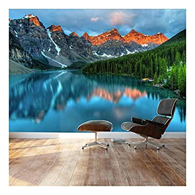 Wall26 - Tranquil Mountain Lake - Landscape - Wall Mural, Removable Sticker, Home Decor - 66x96 inches