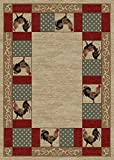 "Cheap Rug Empire Rustic Lodge Rooster Area Rug 7'10"" W x 9'10"" L, Beige"