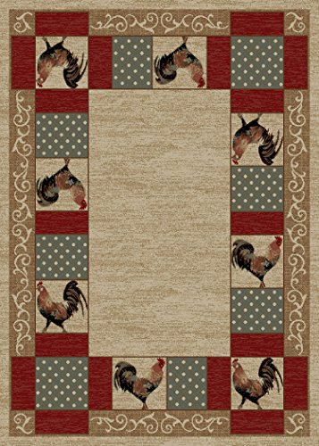 "Rug Empire Rustic Lodge Rooster Area Rug,  Beige,  5'3"" W x 7'3"" L"