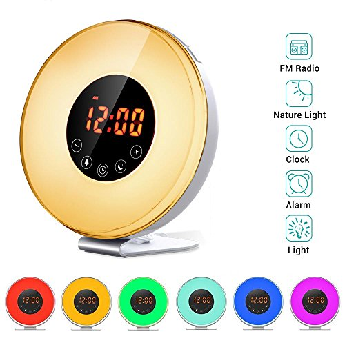 Wake Up Light Alarm Clock, Salute Sunrise Simulator, 7 Color Changing Night Light - FM Radio 6 Nature Sounds Touch Control Snooze Function, with USB Charger for Heavy Sleepers (Fun Alarm Clock)