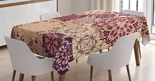 (Ambesonne Vintage Tablecloth, Antique Traditional Ceramic Tiles Ornamental Moroccan Arabesque Image Print, Dining Room Kitchen Rectangular Table Cover, 52 W X 70 L Inches, Rose Ivory)