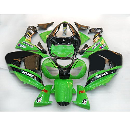 Wotefusi Brand New Motorcycle ABS Plastic Painted Compression Mold Bodywork Fairing Kit Set For Kawasaki Ninja ZX10R ZX-10R 2006 2007 (Kawasaki Zx10r Green)