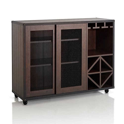Wine Storage Credenza - ioHOMES Sallos Multi Storage Buffet, Vintage Walnut