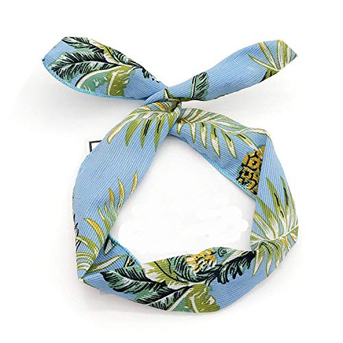 Multi Using Adjustable Headbands Print Striped Flower Women Hair Band With Metal Wire Creative Girl Head Band Hair Accessories,Leaf Blue