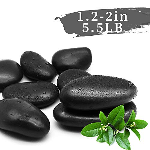 LONGHUI Technology Black Pebbles Decorative Ornamental River Rocks Tumbled and Polished Stones for Landscaping, Home Décor, Crafts, Art Project etc, 1.2-2in, 5.5Ib