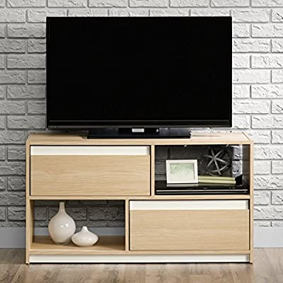 Sauder Square 1 TV Stand with Reversible Accents - Dimensions: 41.5W x 15.5D x 22.4H in. Crafted of engineered wood with laminates Your choice of finishes - tv-stands, living-room-furniture, living-room - 51 r ebBfBL. SS400  -