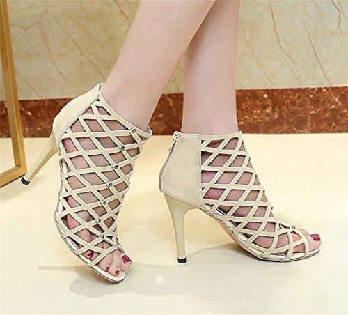 Tamaño 41 35 Alto Sandalias Aguja Beige Sexy Nvxie De Zapatos Más Tacón wnv4znXaxq