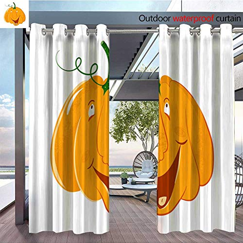 Outdoor- Free Standing Outdoor Privacy Curtain vector pumpkin head portrait with happy emotions for celebration of Halloween or for Front Porch Covered Patio Gazebo Dock Beach Home W96