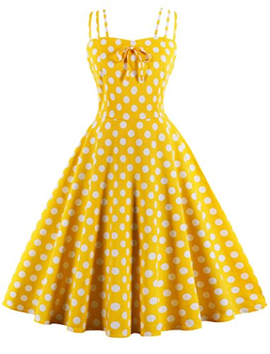 Nihsatin Women's Rockabilly 50s Vintage Spaghetti Strap Polka Dots Cocktail Swing Dress Yellow