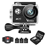 Vemico Action Camera, Sports Action Camera 4K WiFi Ultra HD Waterproof Helmet Cam Camcorder with 2.4G Remote Control and 3 Rechargeable Batteries