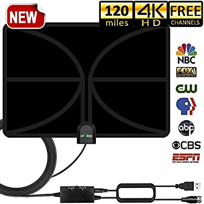 HDTV Antenna, 2019 New Version Indoor Digital TV Antenna 120 Miles Range with Amplifier Signal Booster 4K HD VHF UHF Freeview for Life Local Channels Support All Television