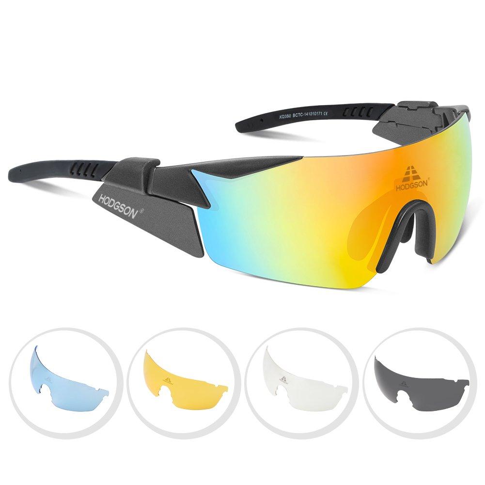 hodsgon Polarisierte Sportbrille Fahrradbrille Sportliche Sonnenbrille UV400 Schutz für Herren & Damen mit 5 Wechselgläser Extra Leicht aus TR90 Fahrrad Autofahren Laufen und Sport hodgson