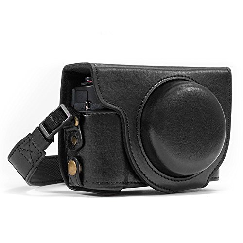 Megagear MG975 Canon PowerShot G7 X Mark II Ever Ready Leather Camera Case and Strap, with Battery Access, Black
