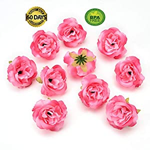 fake flowers heads Silk Rose Bud Artificial Flower for Wedding Party Home Plants Decoration Mariage Cloth Hat Accessories Fake Flowers 30pcs/lot 4cm (Pink) 19
