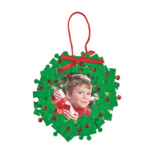 Puzzle Piece Christmas Wreath Picture Frame Ornament Craft Kit ()