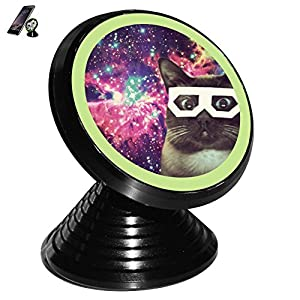 Sunglass Cat in Galaxy Magnetic Mobile Phone Car Mount Holder 360 Degree Rotation Vehicle-Mounted Support Compatible for All Phones