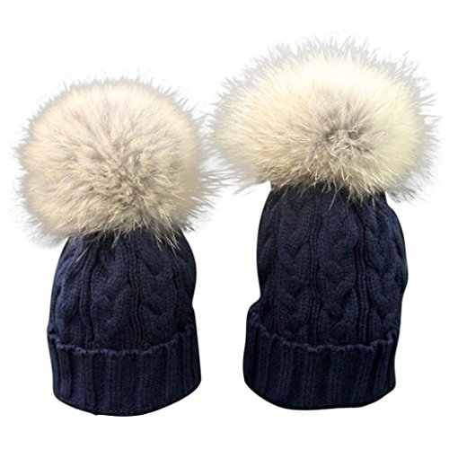 [FEITONG Mom And Baby Winter Crochet Hat Fur Wool Knit Warm Cap (Navy)] (Trucker Girl Costume)