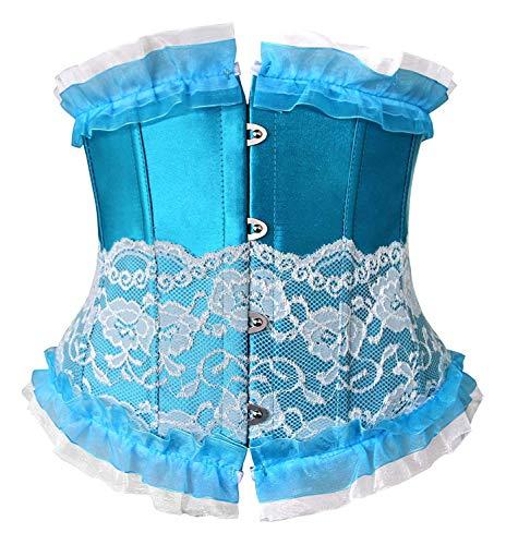 - Coolweary Women's&Ladies Fashion Trim Lace Up Corset Boned Underbust Waist Training Corset Top Blue S/Fit Waist 23