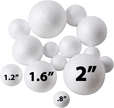 2 Pcs White Styrofoam Foam Balls for DIY and Slime Supplies Craft Foam Balls White