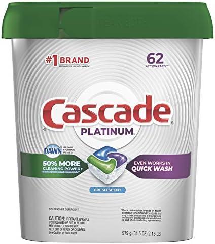 Cascade Platinum Dishwasher Pods, Actionpacs Dishwasher Detergent, Fresh  Scent, 62 Count: Health & Personal Care - Amazon.com