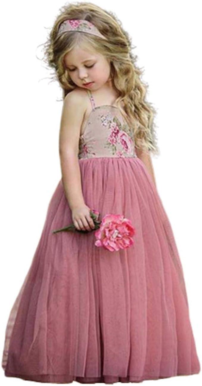 Zhen+ Mädchen Kleider Ärmellos Spitze Tüll Kleid Blumen Druck Prinzessin  Kleider Maxikleid Kinder Party Festlich Ballkleid Sommer Rosa für 13-13 Jahre