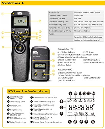 Pixel Timer Shutter Release TW283-N3 Wireless Remote Control for Canon 5D Mark III/ 5D Mark IV/ 5D 6D /7D Mark II/ 7D 50D 40D 30D D60 D30 D2000 by PIXEL (Image #5)