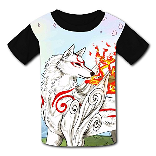 Price comparison product image Black and White Wolf T-Shirt Short Sleeve Kids Tee Shirt Black Funny 2017 For gils Boys Black