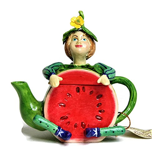 Miniature Fairy Garden Ceramic Porcelain Decoration Accessories Fairy Boy/Pixie in Fruit Teapot Shape Approx Size 3#039#0394#039#039 Tall Also Perfect As Trinket Box or Tooth Fairy Box Watermelon