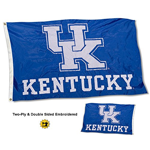 College Flags and Banners Co. Kentucky Wildcats New UK Logo Double Sided Nylon Embroidered ()