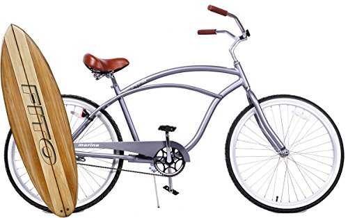 "Anti-Rust & Light Weight Aluminum Alloy Frame, Fito Marina Alloy 1-speed for men - Matte Gray, 26"" wheel Beach Cruiser Bike Bicycle"