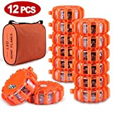Tobfit 12 Pack LED Road Flares Emergency Lights Roadside Safety Beacon Disc Flashing Warning Flare Kit with Magnetic Base & Hook for Car Truck Boats   9 Flash Modes (Batteries Not Included) (12)
