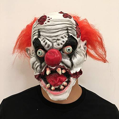 GUOJINJIN Horror Halloween Clown Ghost Head Props, High-Grade Latex Ghost Show Mask for Halloween Christmas Easter Carnival Masquerade]()
