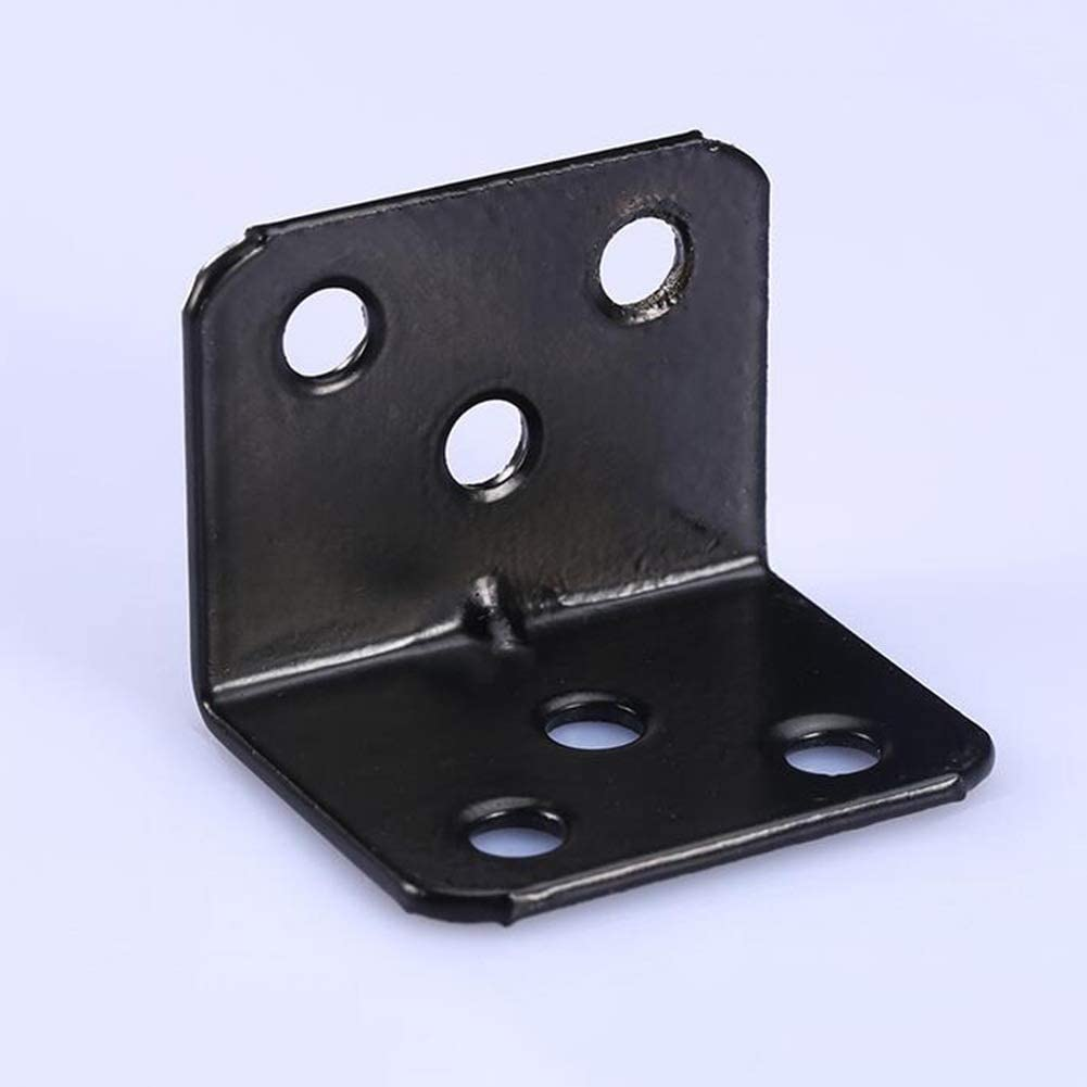 Heavy Duty 90 Degree Right Angle Brackets Mending Repair Joining Plate Bracket Fixing Shelf Color : Black MUMA 20 Pcs Corner Brace
