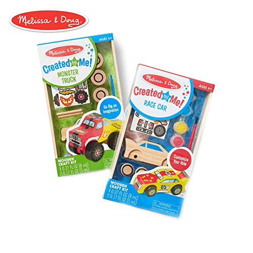 Melissa & Doug Decorate-Your-Own Wooden Craft Kits Set - Race Car and Monster Truck]()